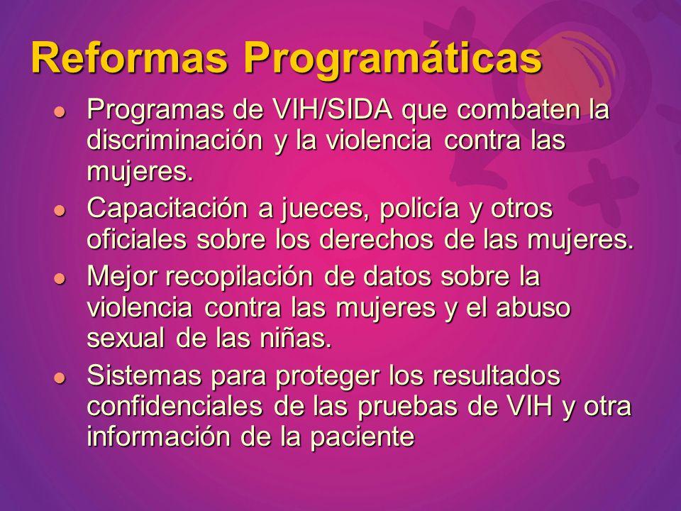 Programas de VIH/SIDA que combaten la discriminación y la violencia contra las mujeres. Programas de VIH/SIDA que combaten la discriminación y la viol