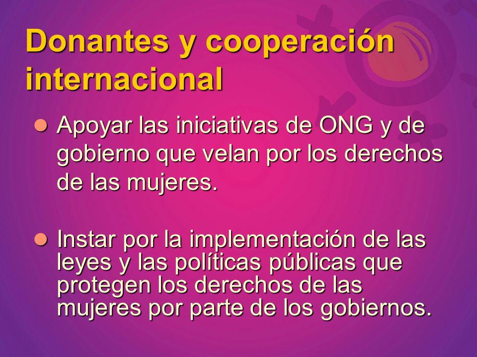 Apoyar las iniciativas de ONG y de gobierno que velan por los derechos de las mujeres. Apoyar las iniciativas de ONG y de gobierno que velan por los d