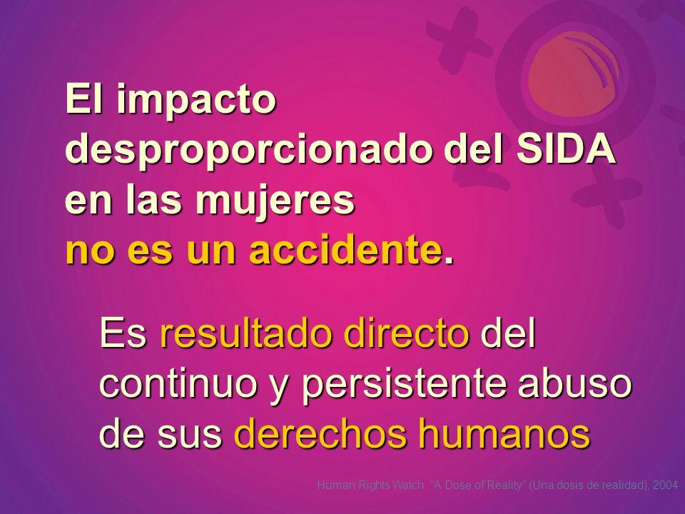 El impacto desproporcionado del SIDA en las mujeres no es un accidente. Es resultado directo del continuo y persistente abuso de sus derechos humanos