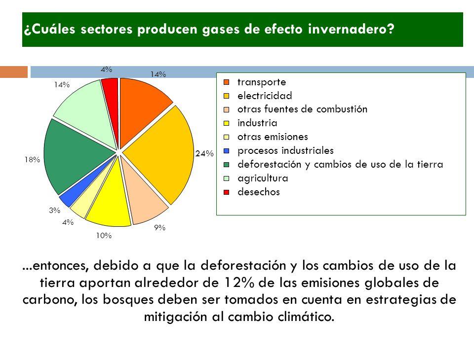 ¿Cuáles sectores producen gases de efecto invernadero?...entonces, debido a que la deforestación y los cambios de uso de la tierra aportan alrededor d