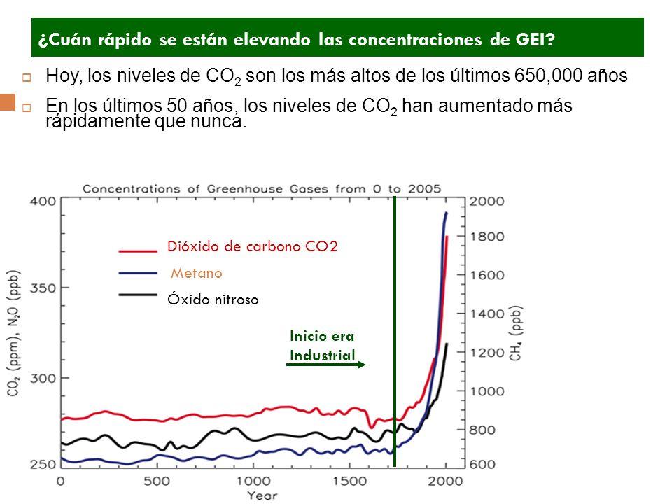 Dióxido de carbono CO2 Metano Óxido nitroso Hoy, los niveles de CO 2 son los más altos de los últimos 650,000 años En los últimos 50 años, los niveles de CO 2 han aumentado más rápidamente que nunca.