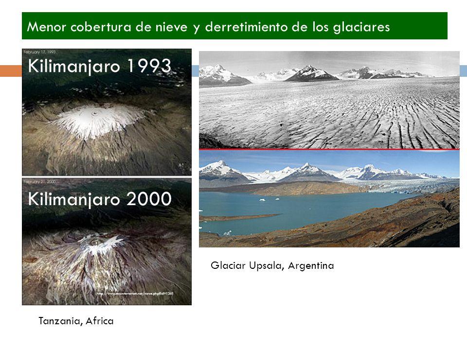 http://www.mounteverest.net/news.php id=1361 Kilimanjaro 1993 Kilimanjaro 2000 Menor cobertura de nieve y derretimiento de los glaciares Tanzania, Africa Glaciar Upsala, Argentina