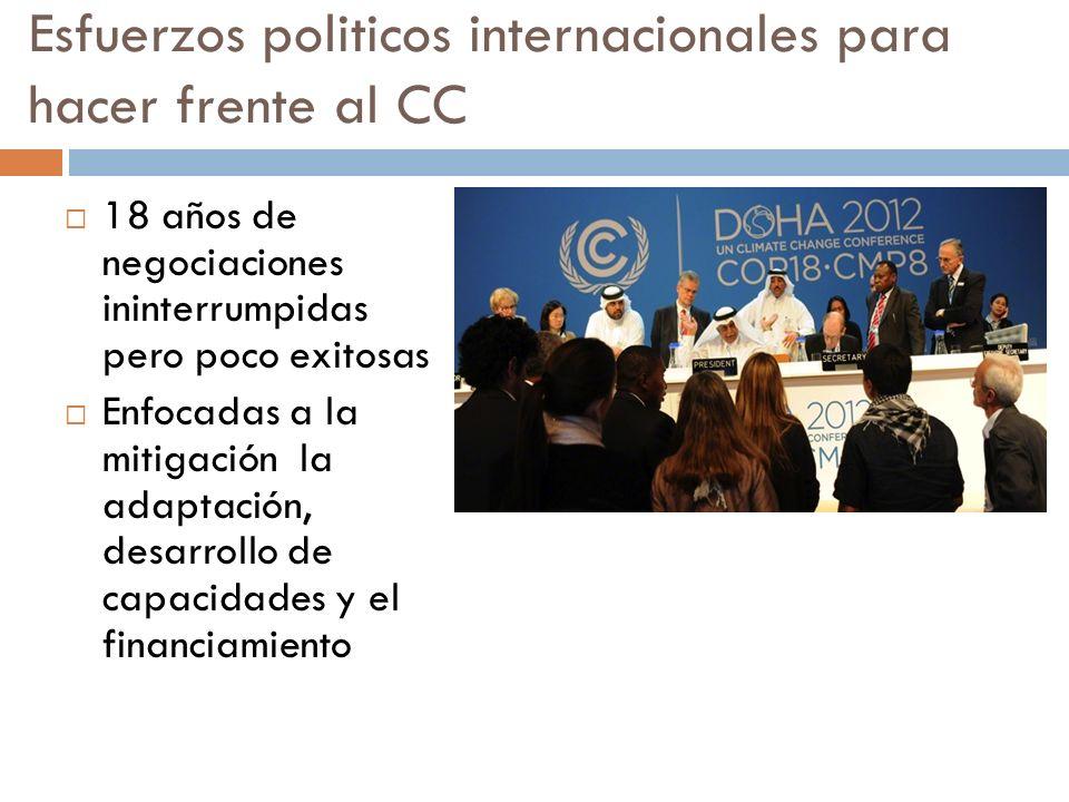 Esfuerzos politicos internacionales para hacer frente al CC 18 años de negociaciones ininterrumpidas pero poco exitosas Enfocadas a la mitigación la adaptación, desarrollo de capacidades y el financiamiento