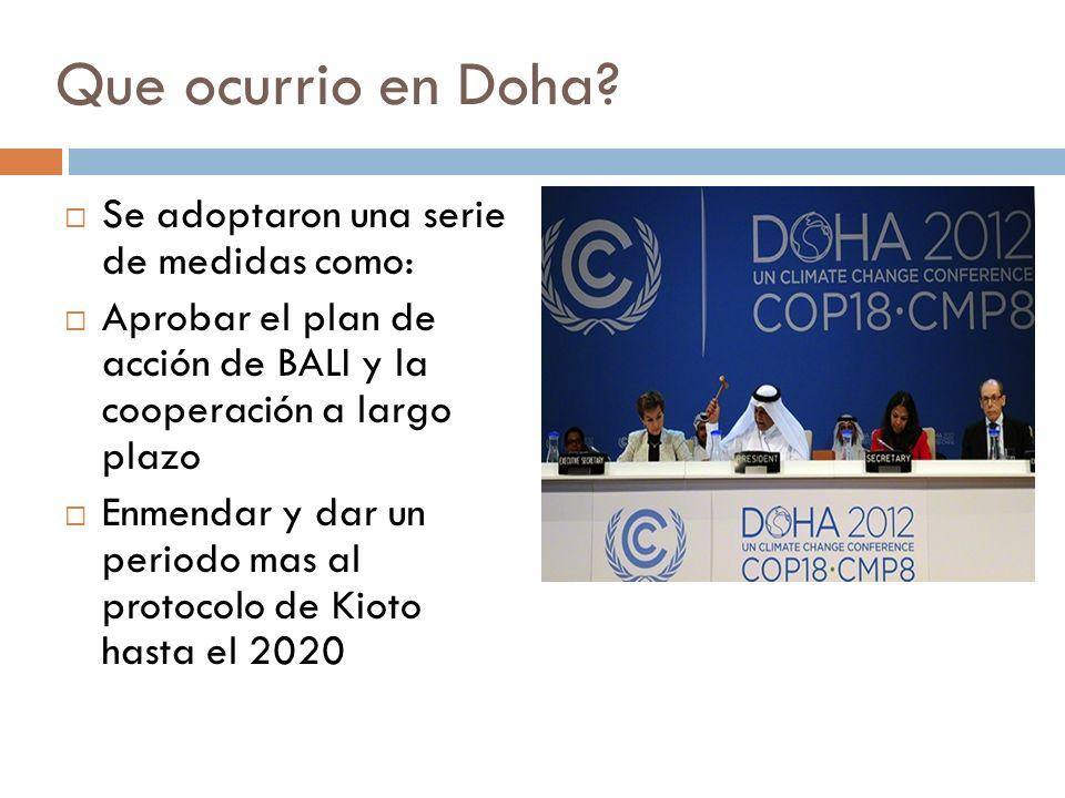 Que ocurrio en Doha? Se adoptaron una serie de medidas como: Aprobar el plan de acción de BALI y la cooperación a largo plazo Enmendar y dar un period