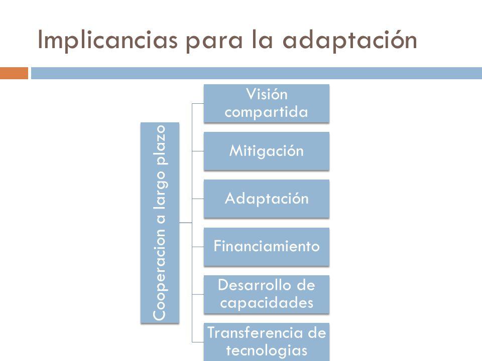 Implicancias para la adaptación Cooperacion a largo plazo Visión compartida Mitigación Adaptación Financiamiento Desarrollo de capacidades Transferencia de tecnologias