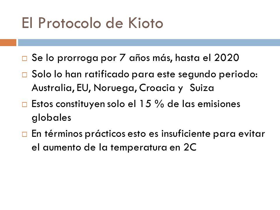 El Protocolo de Kioto Se lo prorroga por 7 años más, hasta el 2020 Solo lo han ratificado para este segundo periodo: Australia, EU, Noruega, Croacia y Suiza Estos constituyen solo el 15 % de las emisiones globales En términos prácticos esto es insuficiente para evitar el aumento de la temperatura en 2C