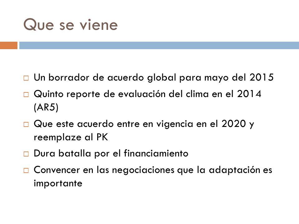 Que se viene Un borrador de acuerdo global para mayo del 2015 Quinto reporte de evaluación del clima en el 2014 (AR5) Que este acuerdo entre en vigencia en el 2020 y reemplaze al PK Dura batalla por el financiamiento Convencer en las negociaciones que la adaptación es importante