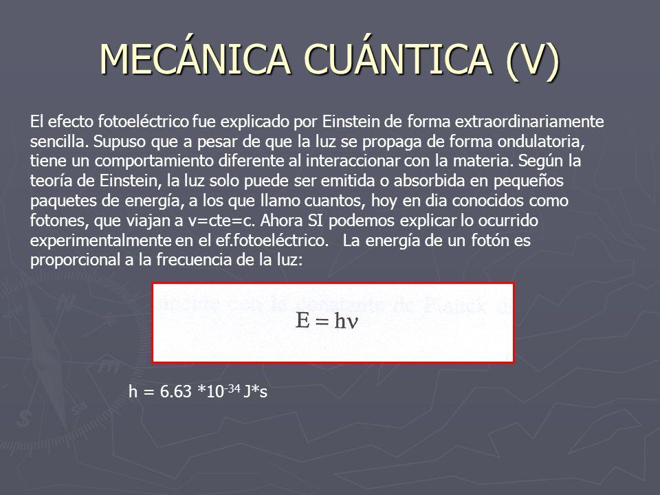 MECÁNICA CUÁNTICA (V) El efecto fotoeléctrico fue explicado por Einstein de forma extraordinariamente sencilla. Supuso que a pesar de que la luz se pr