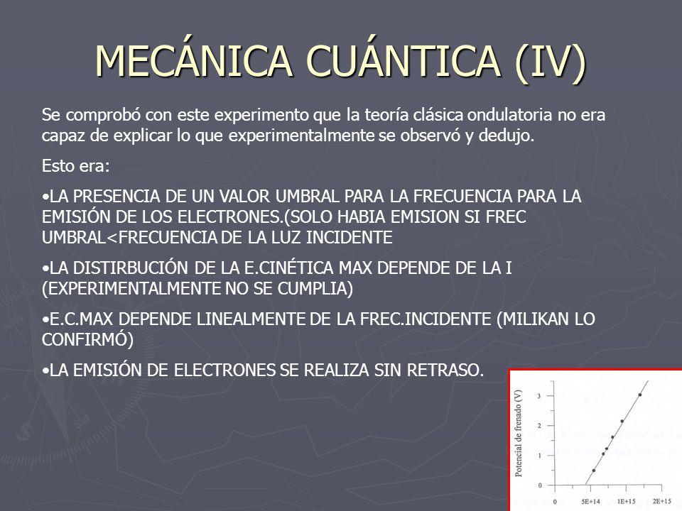 MECÁNICA CUÁNTICA (IV) Se comprobó con este experimento que la teoría clásica ondulatoria no era capaz de explicar lo que experimentalmente se observó