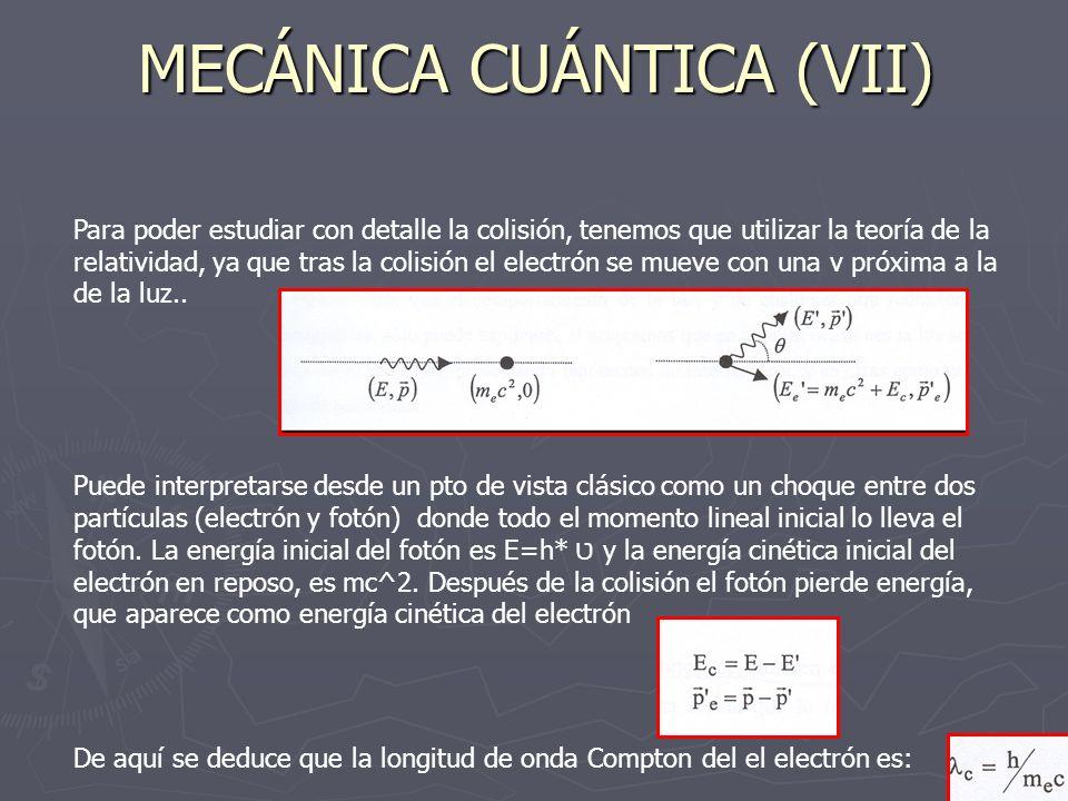 MECÁNICA CUÁNTICA (VII) Para poder estudiar con detalle la colisión, tenemos que utilizar la teoría de la relatividad, ya que tras la colisión el elec