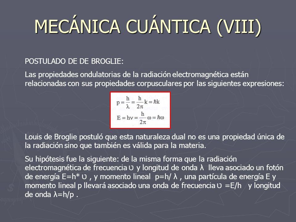 MECÁNICA CUÁNTICA (VIII) POSTULADO DE DE BROGLIE: Las propiedades ondulatorias de la radiación electromagnética están relacionadas con sus propiedades