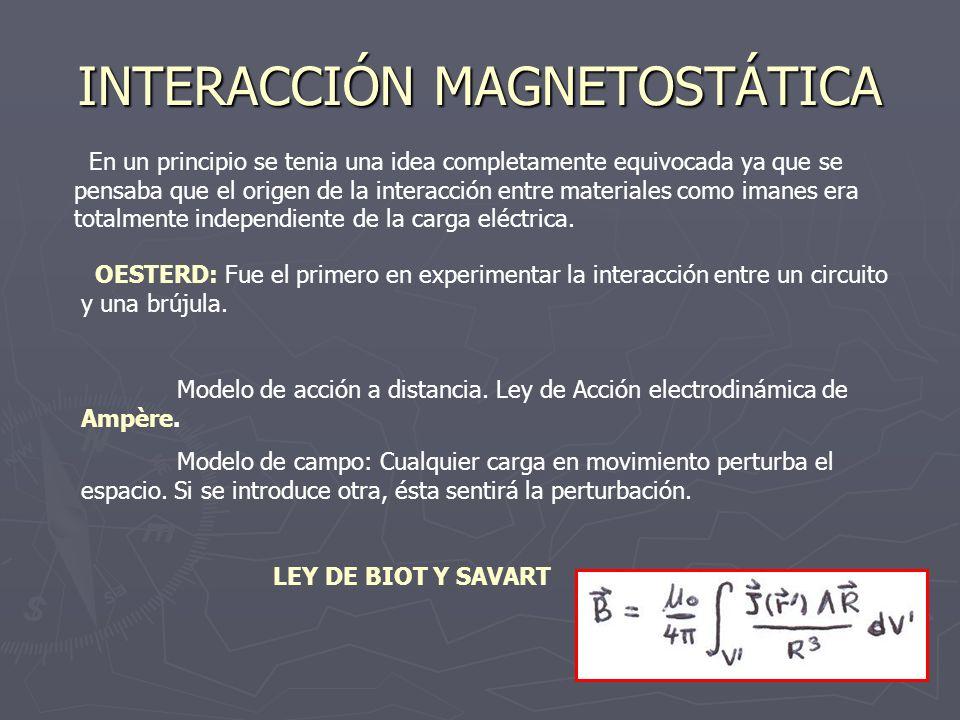 INTERACCIÓN MAGNETOSTÁTICA (II) DIVERGENCIA: Es un campo solenoidal (líneas de campos cerradas) ( Corregida llegara a ser la 2ª ec de Maxwell) ROTACIONAL: Ley circuital de Ampére: