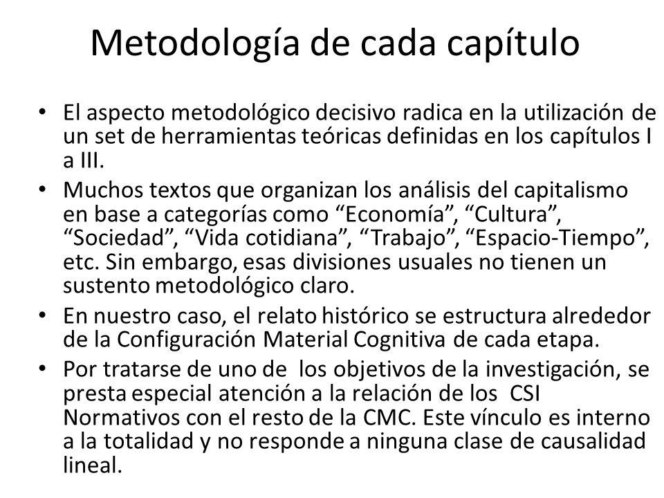 Metodología de cada capítulo El aspecto metodológico decisivo radica en la utilización de un set de herramientas teóricas definidas en los capítulos I