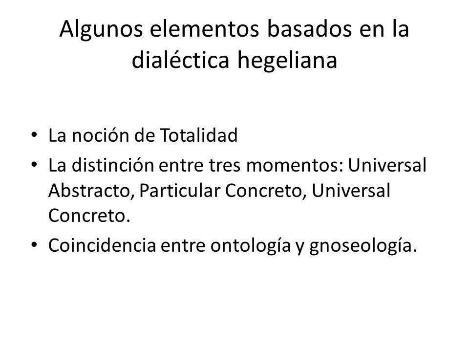 Algunos elementos basados en la dialéctica hegeliana La noción de Totalidad La distinción entre tres momentos: Universal Abstracto, Particular Concret
