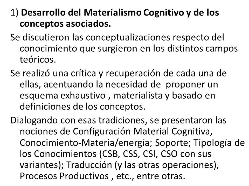 1) Desarrollo del Materialismo Cognitivo y de los conceptos asociados. Se discutieron las conceptualizaciones respecto del conocimiento que surgieron