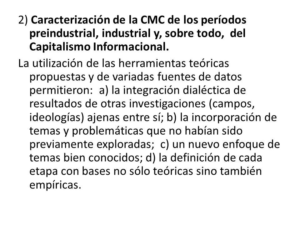 2) Caracterización de la CMC de los períodos preindustrial, industrial y, sobre todo, del Capitalismo Informacional. La utilización de las herramienta