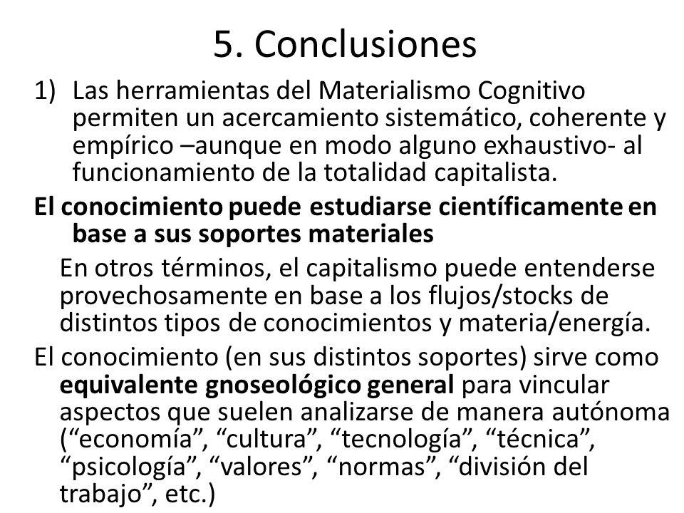 5. Conclusiones 1)Las herramientas del Materialismo Cognitivo permiten un acercamiento sistemático, coherente y empírico –aunque en modo alguno exhaus