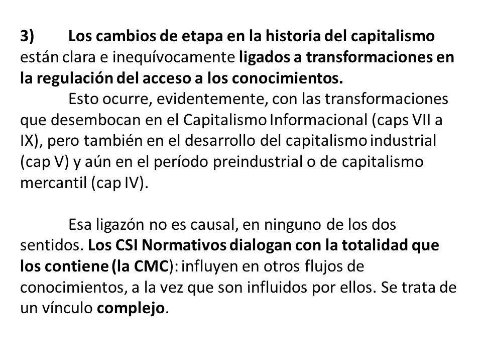 3) Los cambios de etapa en la historia del capitalismo están clara e inequívocamente ligados a transformaciones en la regulación del acceso a los cono