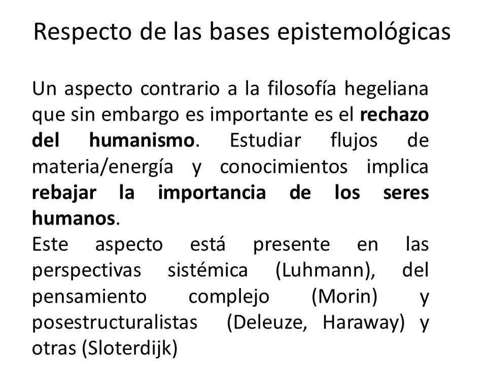 Respecto de las bases epistemológicas Un aspecto contrario a la filosofía hegeliana que sin embargo es importante es el rechazo del humanismo. Estudia