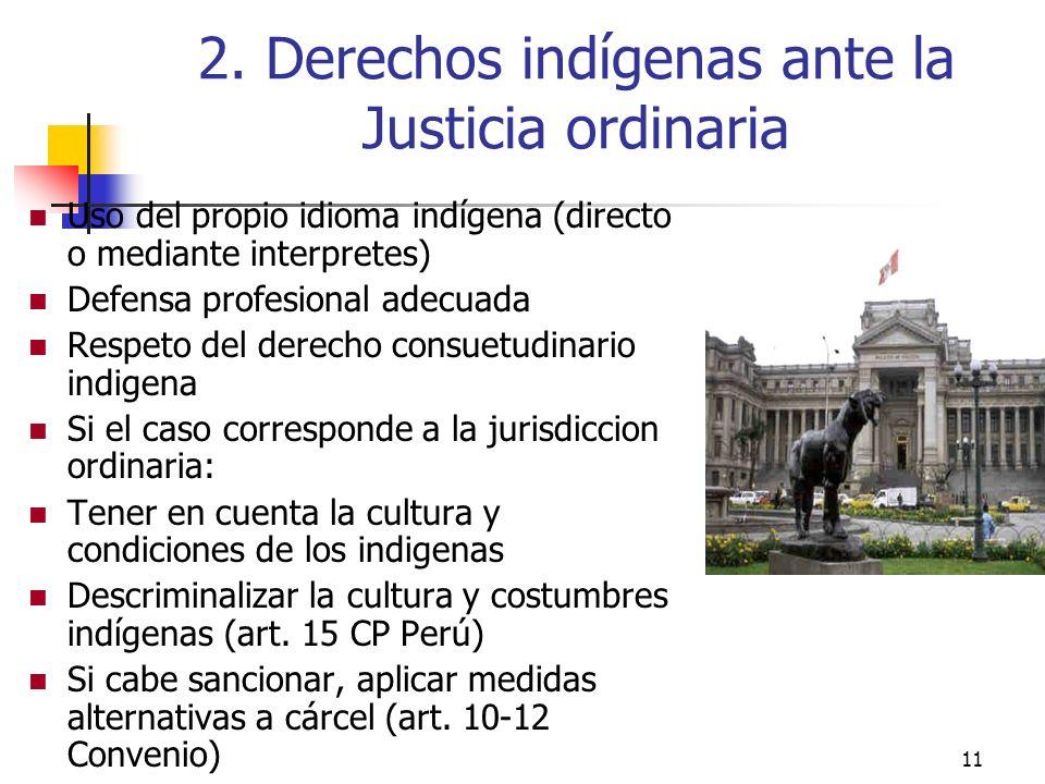 11 2. Derechos indígenas ante la Justicia ordinaria Uso del propio idioma indígena (directo o mediante interpretes) Defensa profesional adecuada Respe