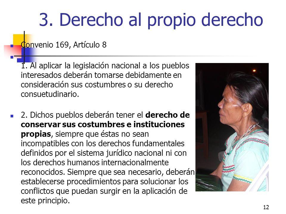 3. Derecho al propio derecho Convenio 169, Artículo 8 1. Al aplicar la legislación nacional a los pueblos interesados deberán tomarse debidamente en c