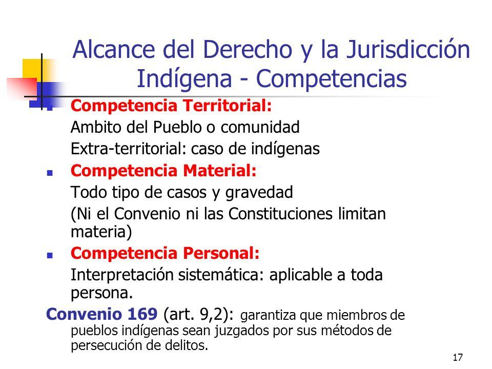 17 Alcance del Derecho y la Jurisdicción Indígena - Competencias Competencia Territorial: Ambito del Pueblo o comunidad Extra-territorial: caso de ind