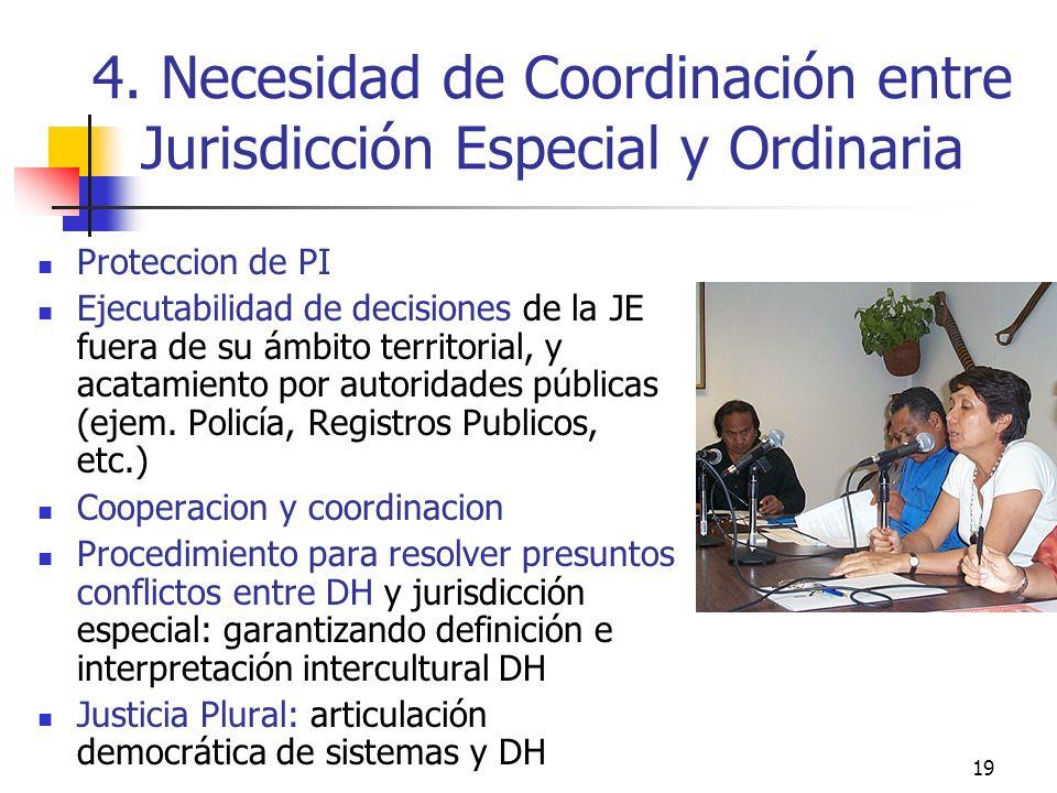 19 4. Necesidad de Coordinación entre Jurisdicción Especial y Ordinaria Proteccion de PI Ejecutabilidad de decisiones de la JE fuera de su ámbito terr