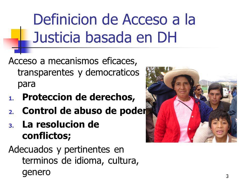 3 Definicion de Acceso a la Justicia basada en DH Acceso a mecanismos eficaces, transparentes y democraticos para 1. Proteccion de derechos, 2. Contro