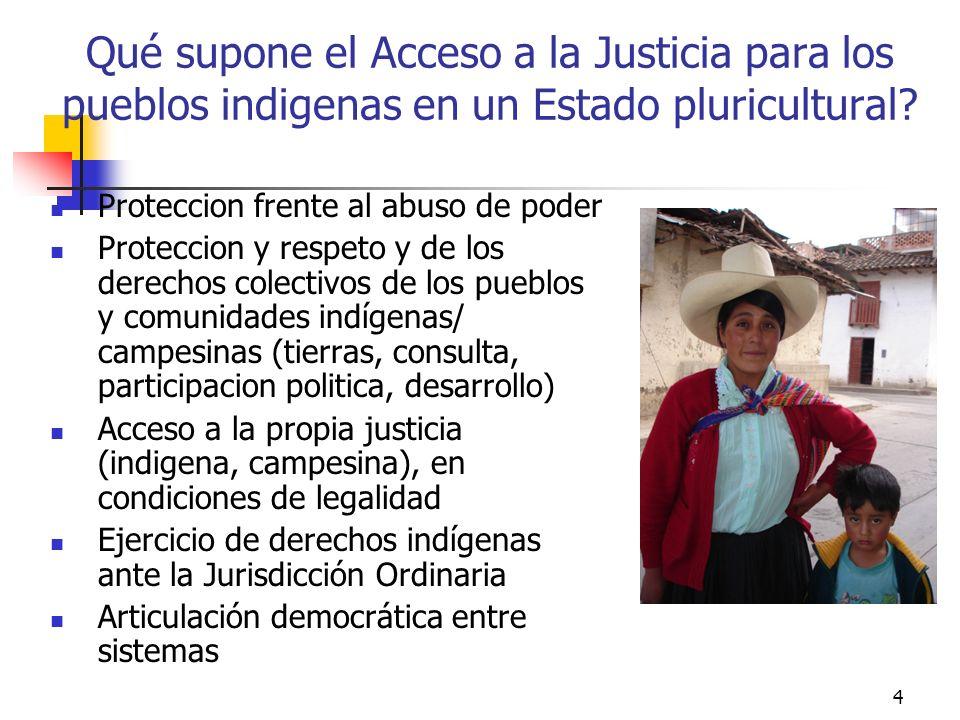 15 La Constitución reconoce el derecho y la justicia indígena, campesina y rondera Constitución Política del Perú.