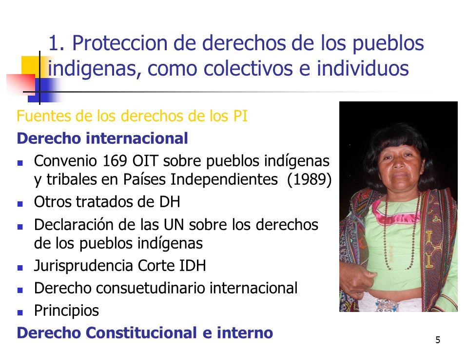 1. Proteccion de derechos de los pueblos indigenas, como colectivos e individuos Fuentes de los derechos de los PI Derecho internacional Convenio 169
