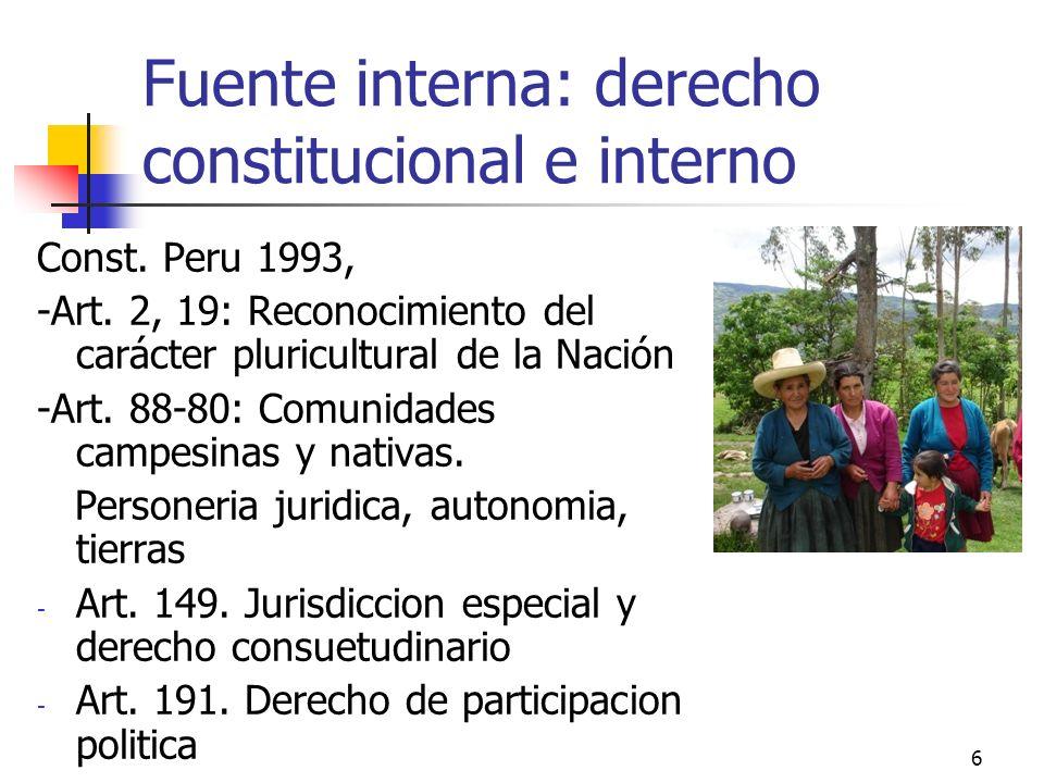 Fuente interna: derecho constitucional e interno Const. Peru 1993, -Art. 2, 19: Reconocimiento del carácter pluricultural de la Nación -Art. 88-80: Co