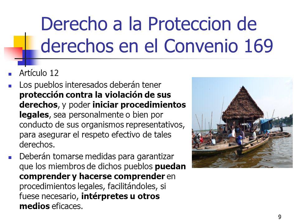 Derecho a la Proteccion de derechos en el Convenio 169 Artículo 12 Los pueblos interesados deberán tener protección contra la violación de sus derecho