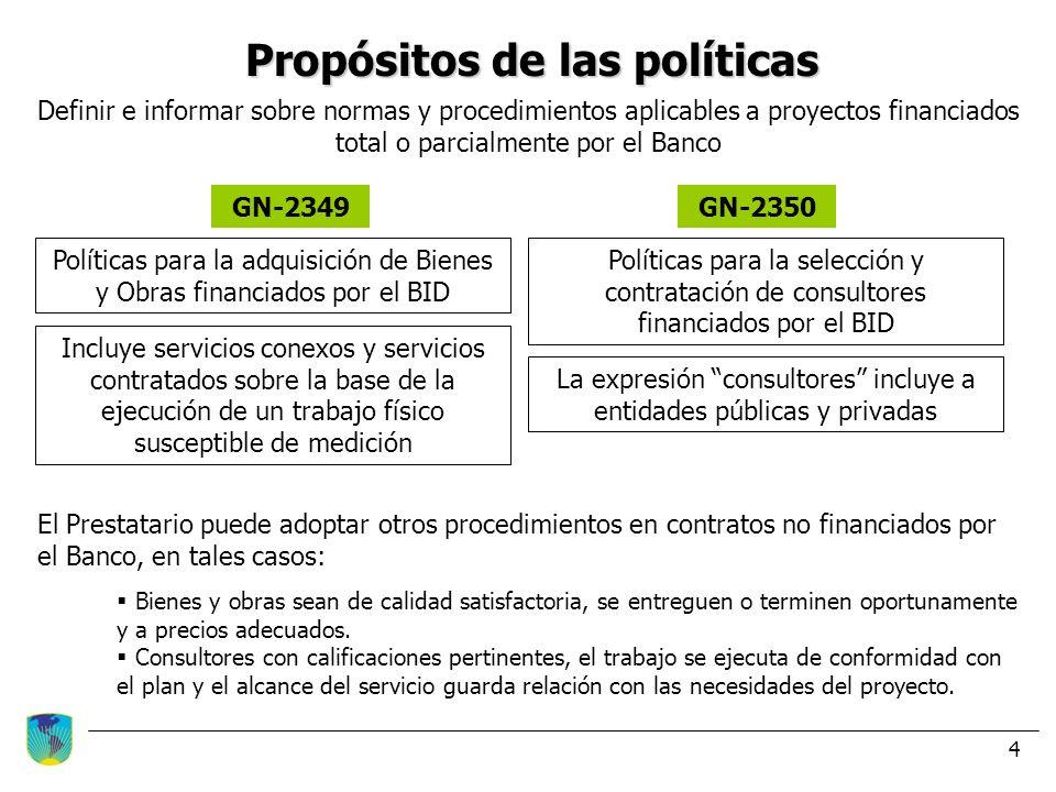 4 Propósitos de las políticas Definir e informar sobre normas y procedimientos aplicables a proyectos financiados total o parcialmente por el Banco GN