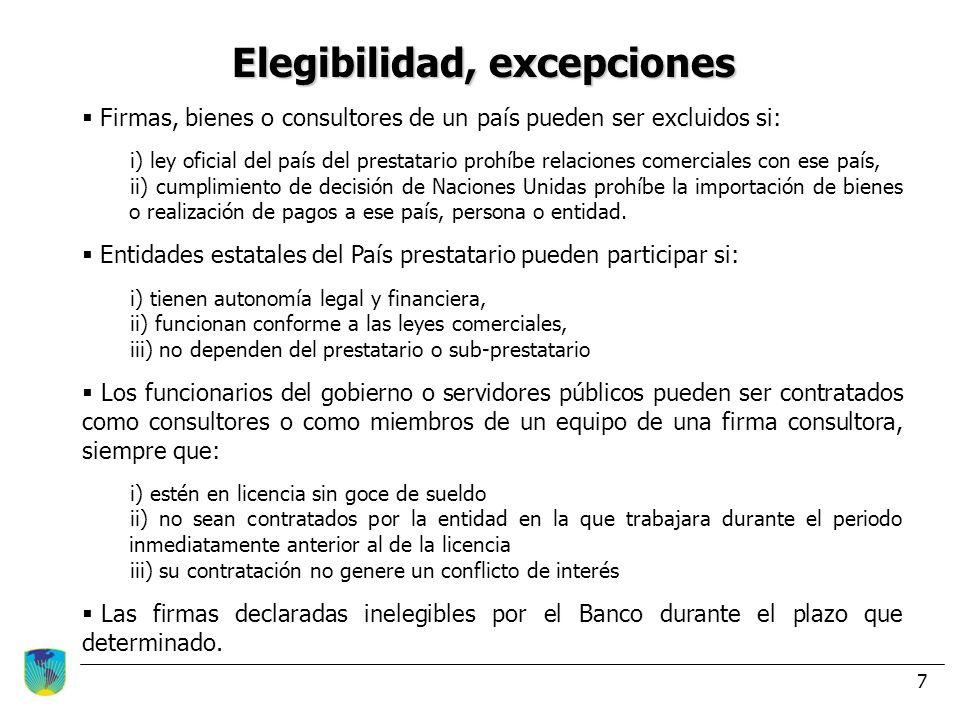 7 Elegibilidad, excepciones Firmas, bienes o consultores de un país pueden ser excluidos si: i) ley oficial del país del prestatario prohíbe relacione