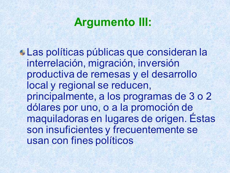 Argumento III: Las políticas públicas que consideran la interrelación, migración, inversión productiva de remesas y el desarrollo local y regional se