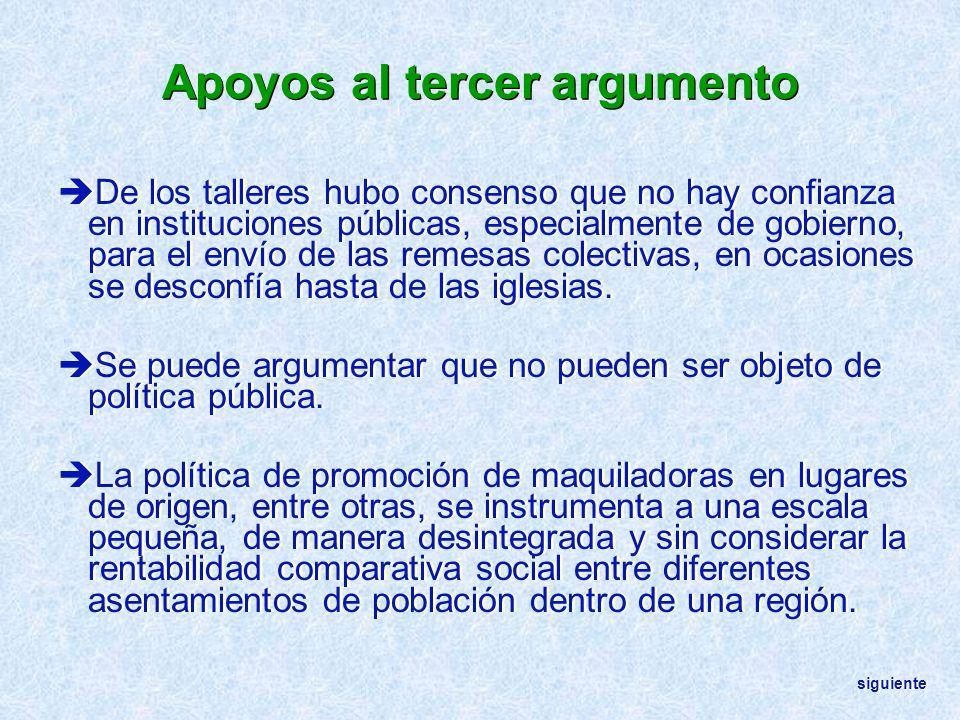 Apoyos al tercer argumento De los talleres hubo consenso que no hay confianza en instituciones públicas, especialmente de gobierno, para el envío de l
