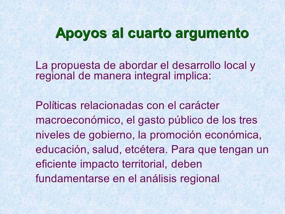 Apoyos al cuarto argumento La propuesta de abordar el desarrollo local y regional de manera integral implica: Políticas relacionadas con el carácter m