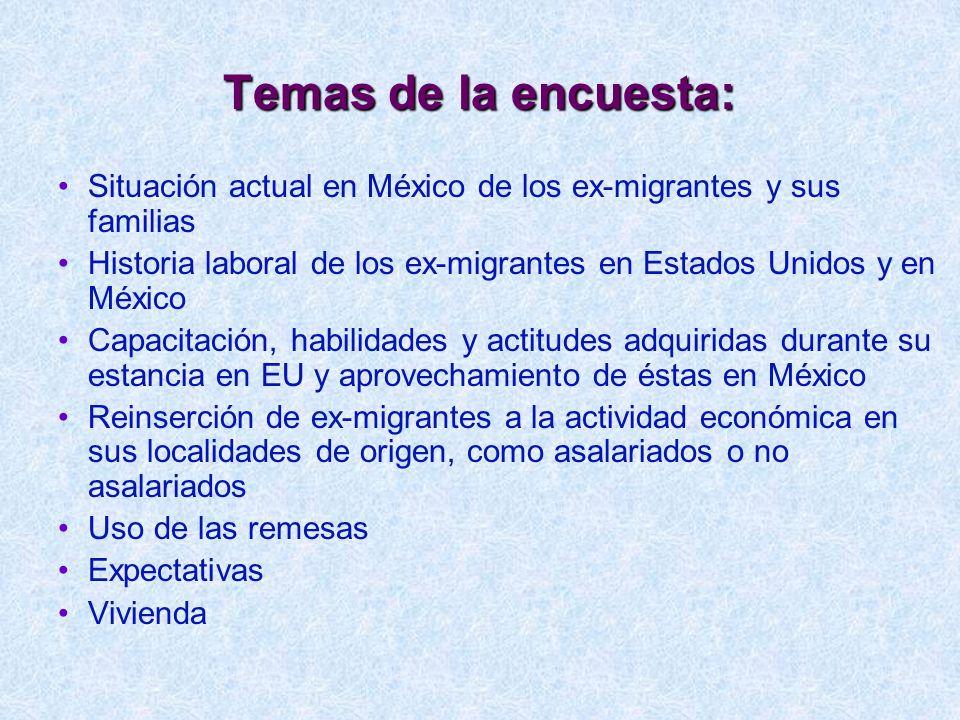 Temas de la encuesta: Situación actual en México de los ex-migrantes y sus familias Historia laboral de los ex-migrantes en Estados Unidos y en México