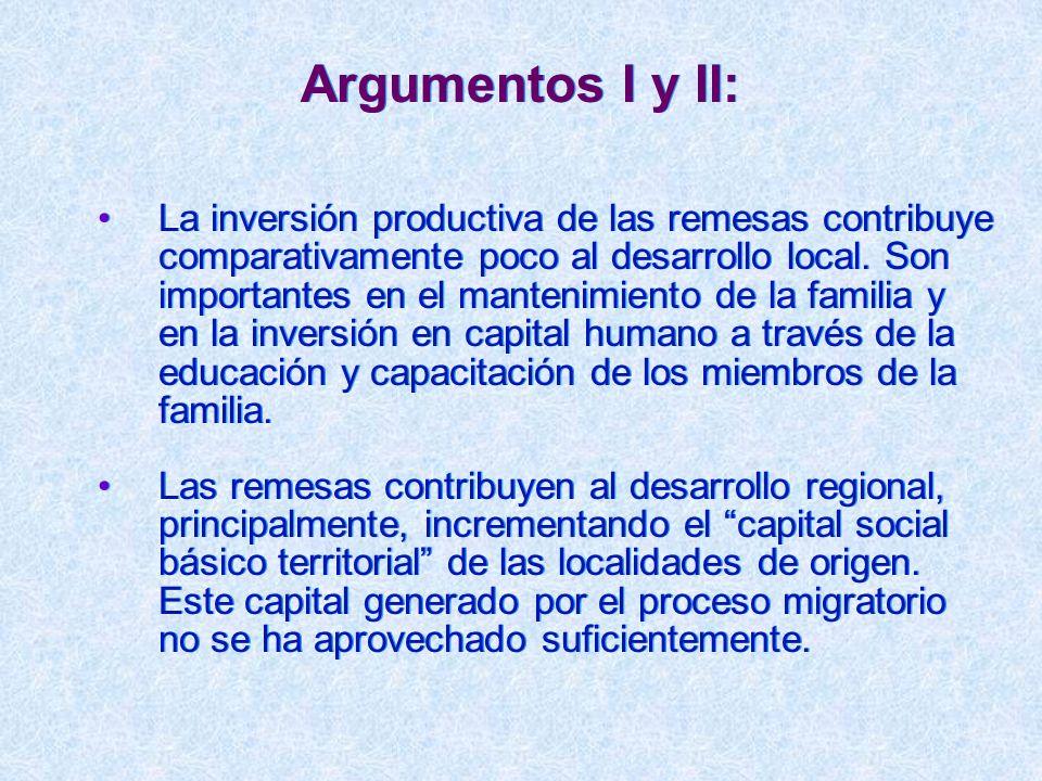 Argumentos I y II: La inversión productiva de las remesas contribuye comparativamente poco al desarrollo local. Son importantes en el mantenimiento de