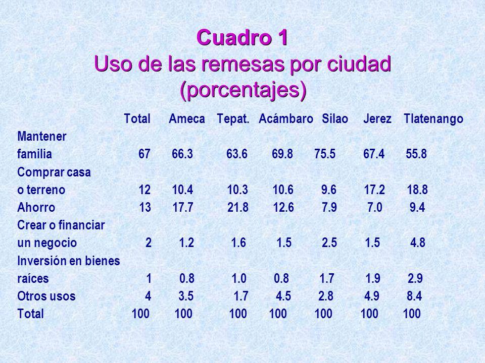 Cuadro 1 Uso de las remesas por ciudad (porcentajes) Total Ameca Tepat. Acámbaro Silao Jerez Tlatenango Mantener familia 67 66.3 63.6 69.8 75.5 67.4 5