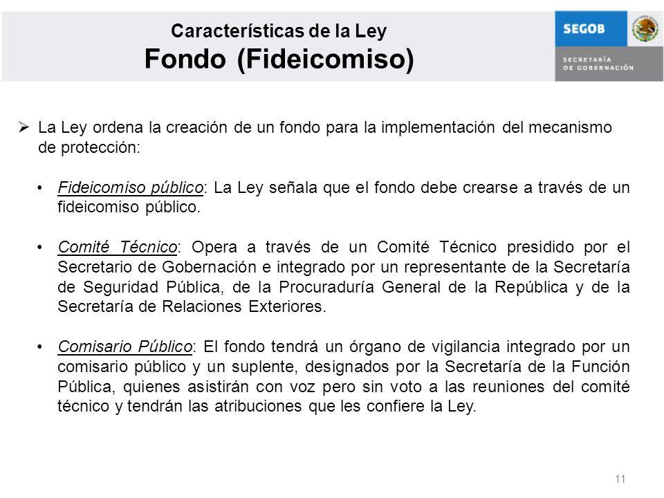 11 Características de la Ley Fondo (Fideicomiso) La Ley ordena la creación de un fondo para la implementación del mecanismo de protección: Fideicomiso