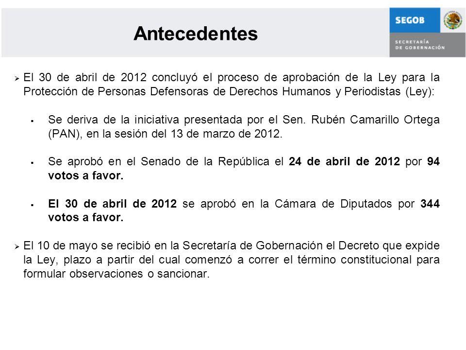 El 30 de abril de 2012 concluyó el proceso de aprobación de la Ley para la Protección de Personas Defensoras de Derechos Humanos y Periodistas (Ley):