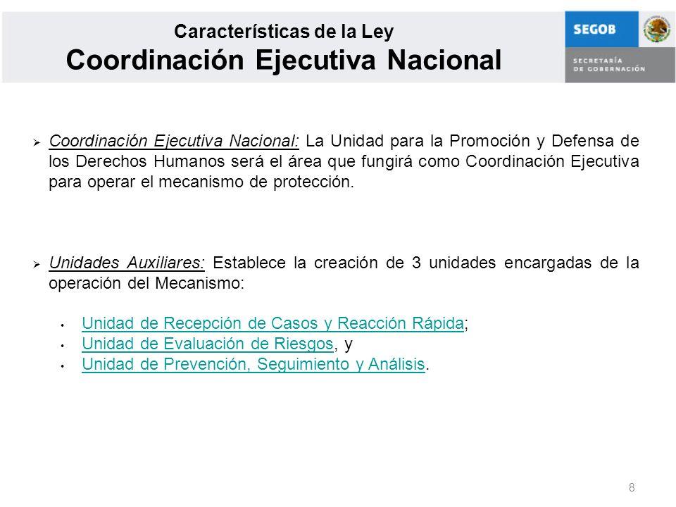 8 Características de la Ley Coordinación Ejecutiva Nacional Coordinación Ejecutiva Nacional: La Unidad para la Promoción y Defensa de los Derechos Hum