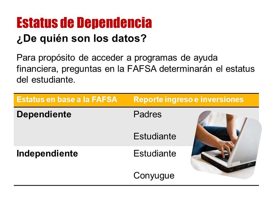 Para propósito de acceder a programas de ayuda financiera, preguntas en la FAFSA determinarán el estatus del estudiante.