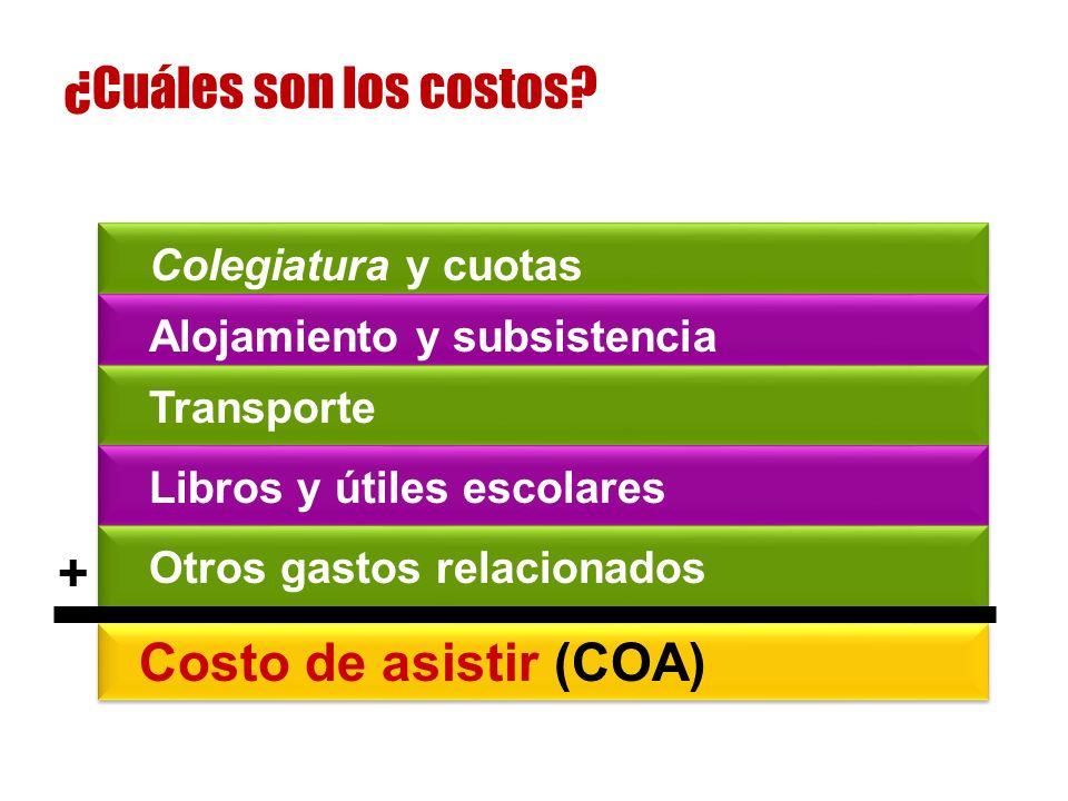Colegiatura y cuotas Alojamiento y subsistencia Transporte Libros y útiles escolares Otros gastos relacionados Costo de asistir (COA) + ¿Cuáles son los costos