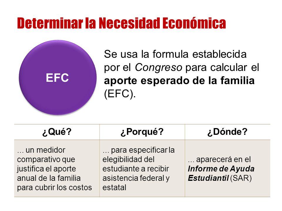 Se usa la formula establecida por el Congreso para calcular el aporte esperado de la familia (EFC).