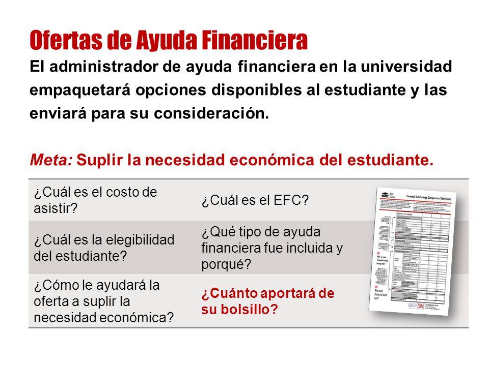 El administrador de ayuda financiera en la universidad empaquetará opciones disponibles al estudiante y las enviará para su consideración.