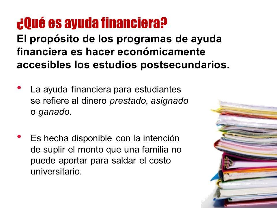La ayuda financiera para estudiantes se refiere al dinero prestado, asignado o ganado.