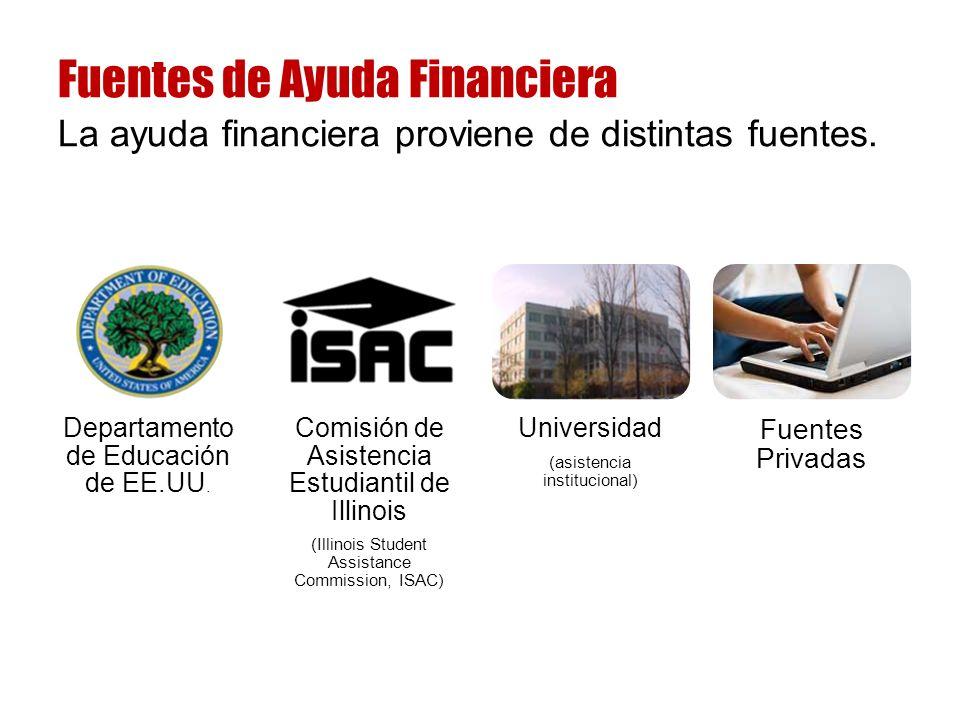 La ayuda financiera proviene de distintas fuentes.