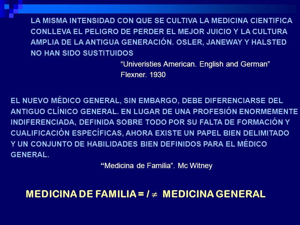 alejamiento del contenido académico : los médicos generales saben de todo pero de nada desprestigio y desmotivación en un sector clave de los sistemas sanitarios.